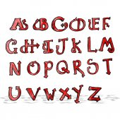 Cartoon devil tail alphabet — Stock Vector
