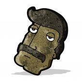 Cartoon manly mustache face — Stockvektor