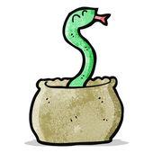 Snake in basket cartoon — Stock Vector
