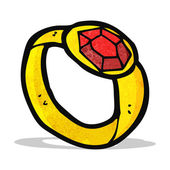 Cartoon ruby ring — Stock Vector