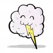 Cartoon cloud with lightning bolt — Cтоковый вектор