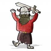 Cartoon medieval raider — Stock Vector