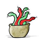 Cartoon basket of snakes — Stock Vector