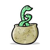 Cartoon snakes in basket — Stock Vector