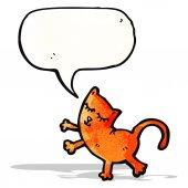 Grappige cartoon kat met tekstballon — Stockvector