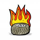 Burning tire cartoon — Stock Vector