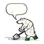 Cartoon polar bear digging hole — Stock Vector