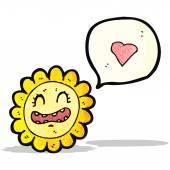 Cartoon zonnebloem met liefde hart — Stockvector