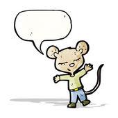 Ratón de dibujos animados con la burbuja del discurso — Vector de stock