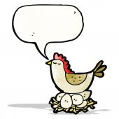 Cartoon chicken roosting on eggs — Stock Vector