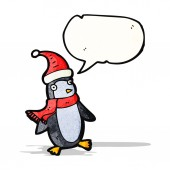 Cartoon christmas penguin with speech bubble — Stock Vector