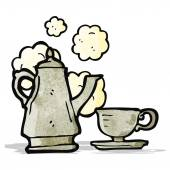 Cartoon cartoon pot et tasse de café — Vecteur