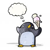 Funny penguin cartoon with thought bubble — Stock Vector