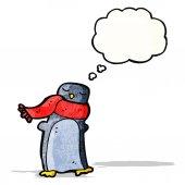 Cartoon penguin with scarf — Stock Vector
