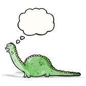 Amigável dinossauro com balão de pensamento — Vetor de Stock