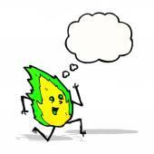 Green flame cartoon character — Stock Vector