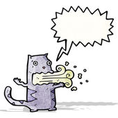 Cartoon cat with bad breath — Stock Vector