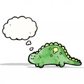 Friendly dinosaur with thought bubble — Stock Vector