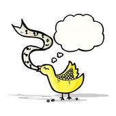 Uccello canto con bolla di pensiero — Vettoriale Stock