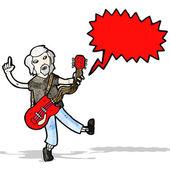 Cartoon electric guitar player — Stock Vector