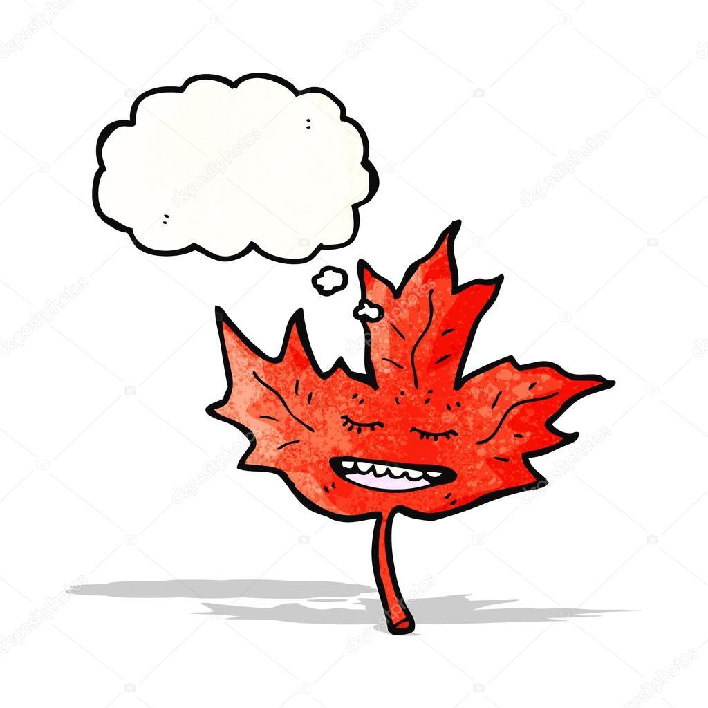 Feuille d 39 rable rouge dessin anim avec la bulle de pens e image vectorielle 57809169 - Feuille erable dessin ...