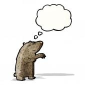 Cartoon bear with though bubble — Stock Vector