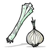 Leek and onion cartoon — Stock Vector
