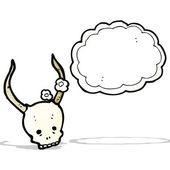 Spooky behornade skalle cartoon — Stockvektor