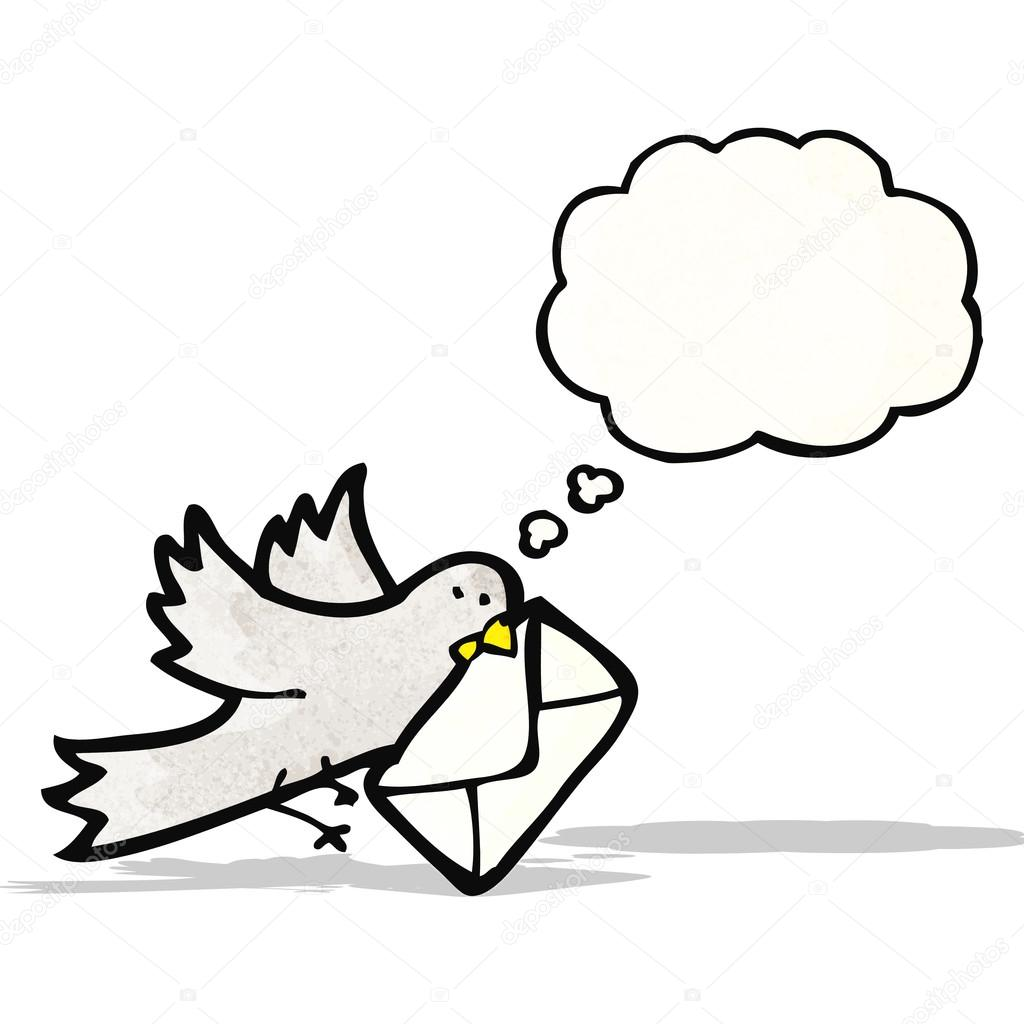 Cartone animato piccione con lettera — vettoriali stock