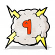 Cartoon thunder cloud with number nine — Stock Vector #58063611