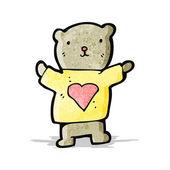 Teddy bear with love heart cartoon — Stock Vector
