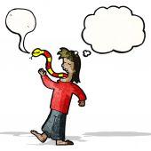 Cartoon man telling lies — Stock Vector
