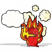 Cartoon flaming little devil — Stockvector