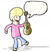 Cartoon sixties guitar player — Stock Vector