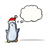 Funny penguin with thought bubble — Stock Vector