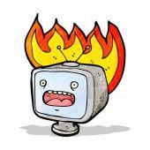 Cartoon burning old television set — Stock Vector