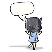 Cartoon little thundercloud head creature — Stock Vector