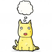 Cartoon little dog with thought bubble — ストックベクタ