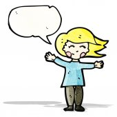 Happy blond woman with speech bubble — Stock vektor