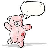 Cartoon pink teddy bear with speech bubble — Stock Vector