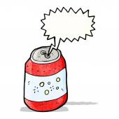 Fizzing soda can cartoon — Stock Vector