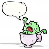 Мультфильм чудовище в стакане воды — Cтоковый вектор