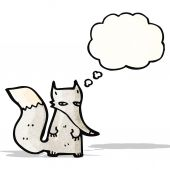 Cartoon little wolf with thought bubble — Vector de stock