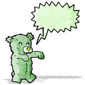 Zombie teddy bear cartoon — Stock Vector