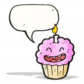 Cartoon cupcake with candle — Vector de stock