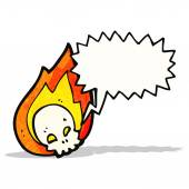 Cartoon flaming skull — Stock Vector
