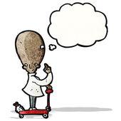 Cartoon big brain scientist — Stock Vector