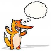Drooling hungry fox cartoon — Stock Vector
