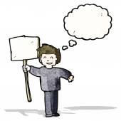 Cartoon man met teken — Stockvector