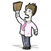 Businessman waving file — Stockvector